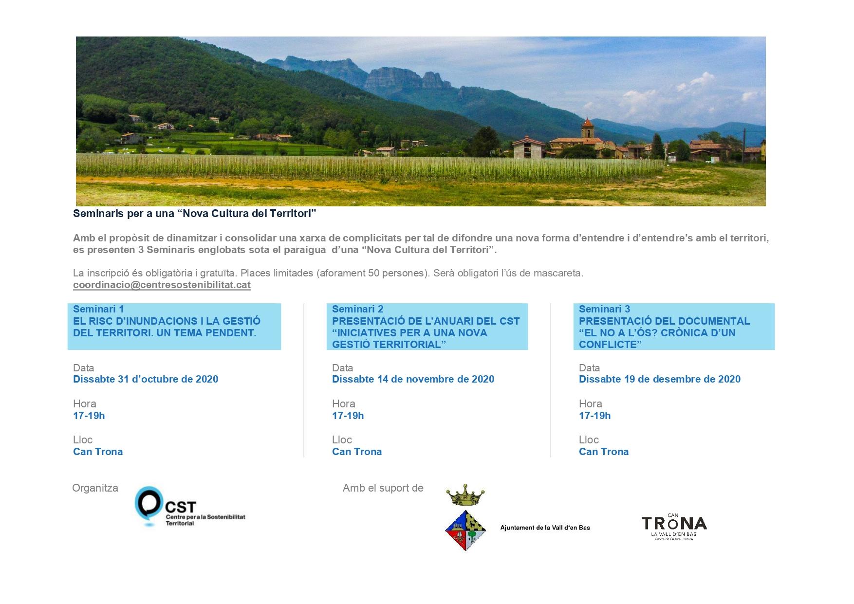 Seminaris per a una Nova Cultura del Territori, a la Vall d'en Bas.